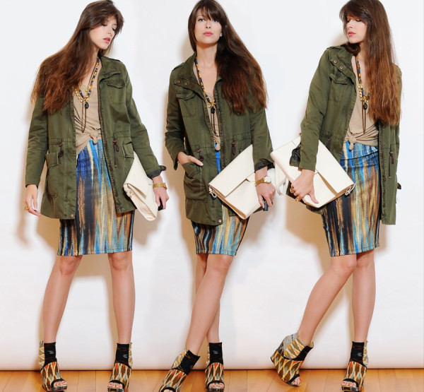 Tribal Skirt and Olive Jacket